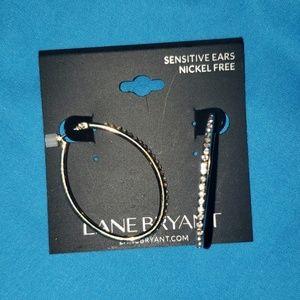 Lane Bryant Cubic Zirconia Oval Hoop Earrings